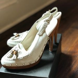 Gucci studded suede wooden heel loafer